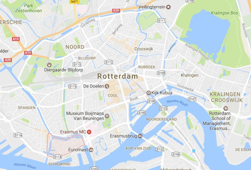 Rotterdam Delfshaven district on Google maps